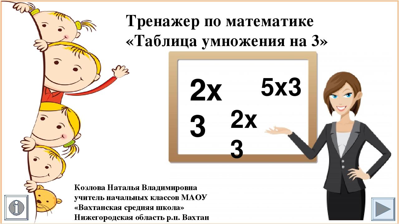 Тренажер презентация таблица умножения
