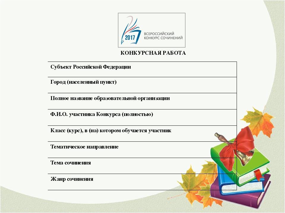 Российский конкурс сочинений 2017