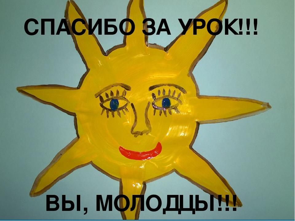 СПАСИБО ЗА УРОК!!! ВЫ, МОЛОДЦЫ!!!