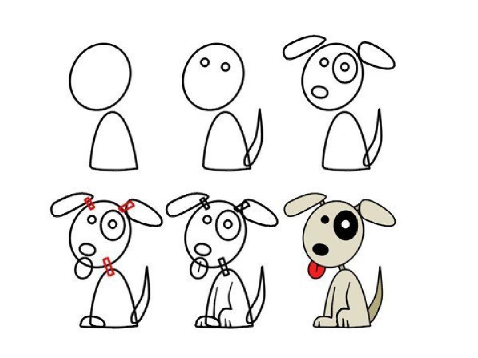 Как научить ребенка поэтапно рисовать собаку
