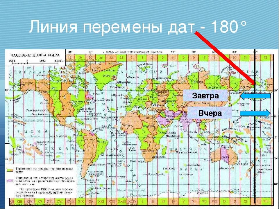 Линия перемены дат - 180° Завтра Вчера