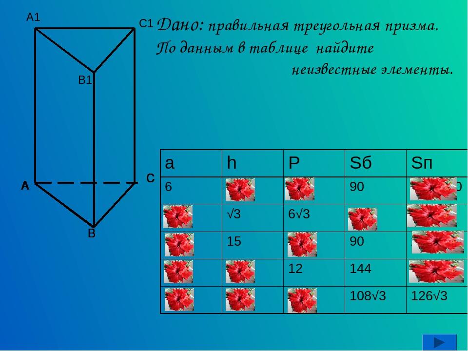 Дано: правильная треугольная призма. По данным в таблице найдите неизвестные...