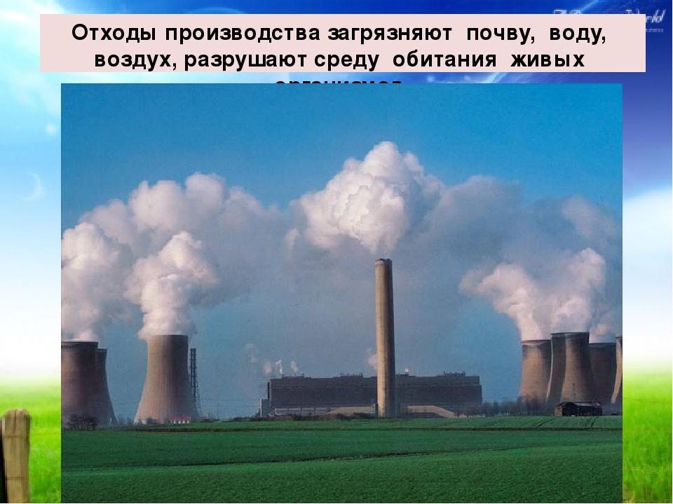 Отходы производства загрязняют почву, воду, воздух, разрушают среду обитания...