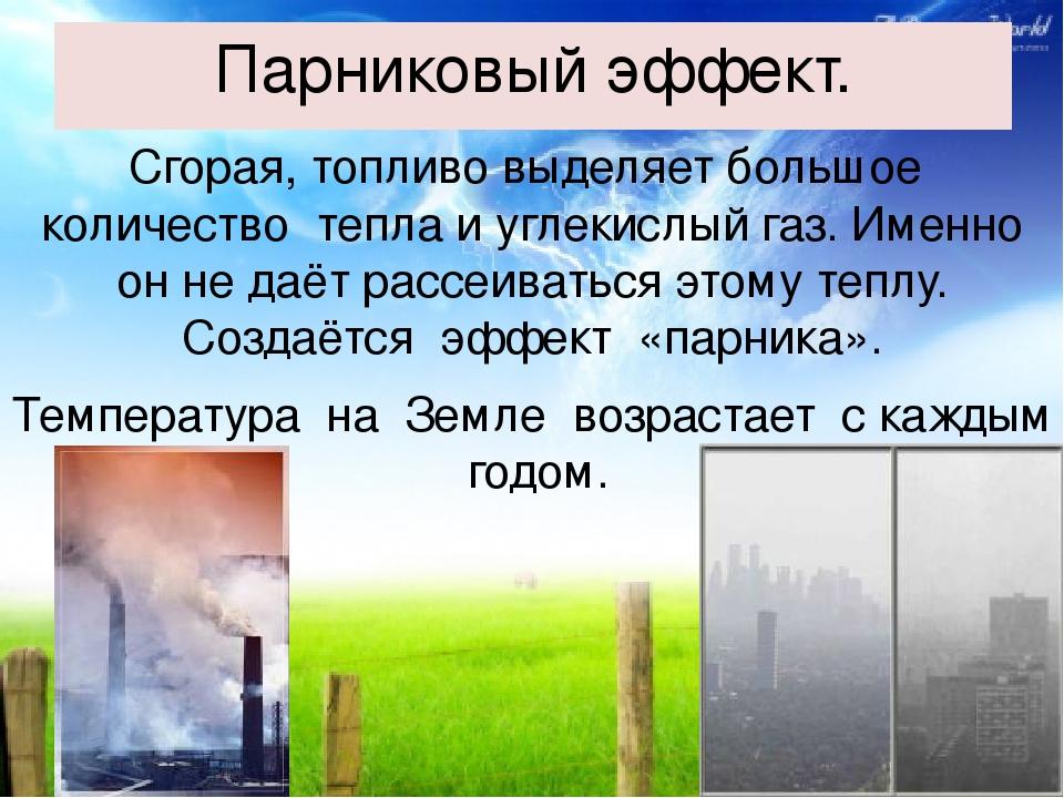 Парниковый эффект. Сгорая, топливо выделяет большое количество тепла и углеки...