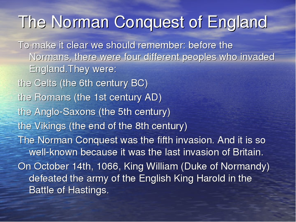 effect of the normans on middle english The norman conquerors of england had originally come from scandinavia the third period, known as early middle english, starts after 1066, the year of the norman conquest, and covers the 12th, 13th and half of the 14th c it was the stage of the greatest dialectal divergenceрасхождения caused.