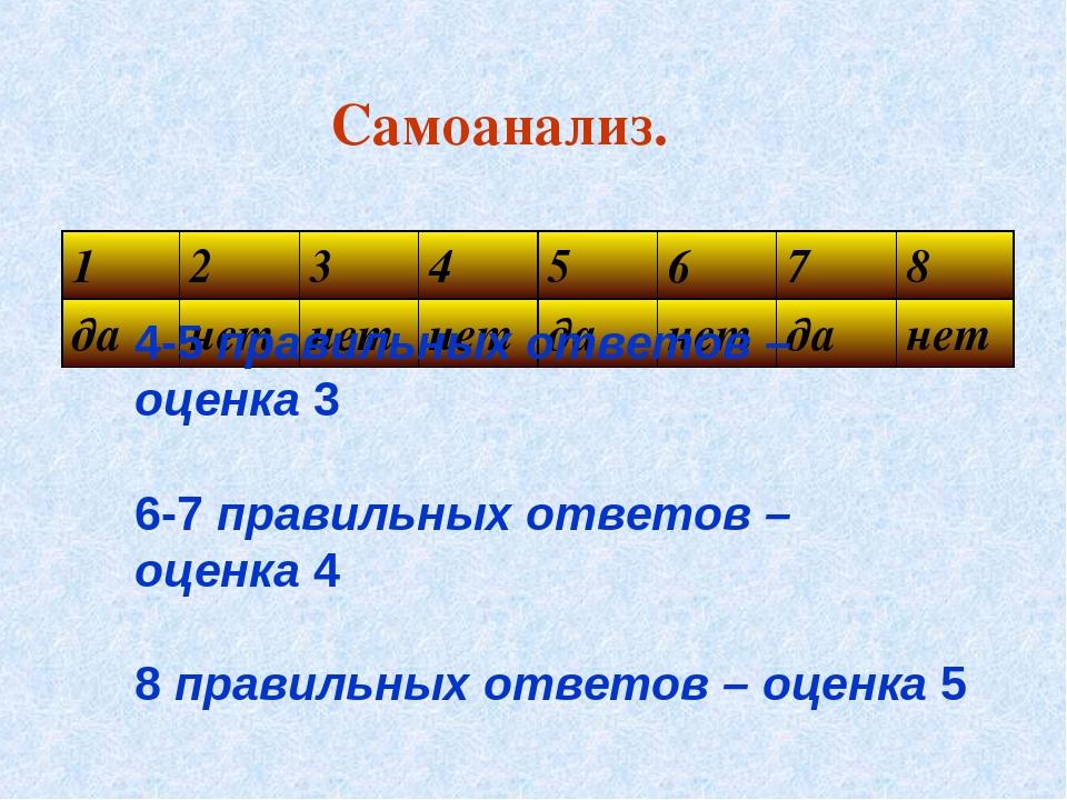 Самоанализ. 4-5 правильных ответов – оценка 3 6-7 правильных ответов – оценка...