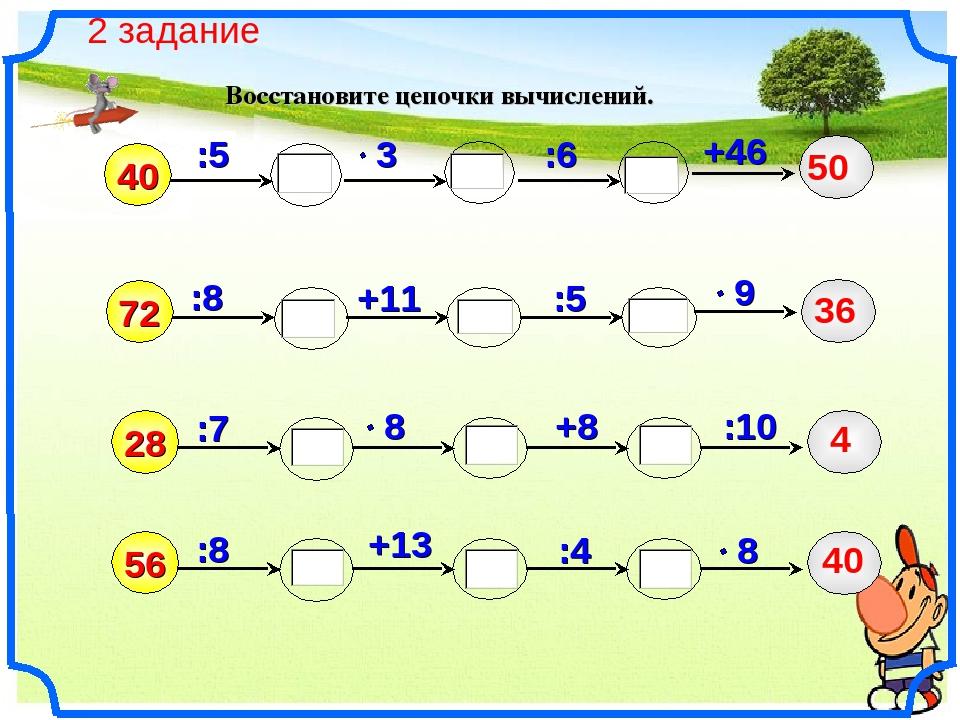 Восстановите цепочки вычислений. 40 :8 :5 +11 +46 72 :6 :5 :7 +8 28 :10 :8 56...