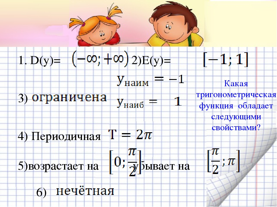 1. D(y)= 2)E(y)= 3) 4) Периодичная 5)возрастает на убывает на 6) Какая триго...
