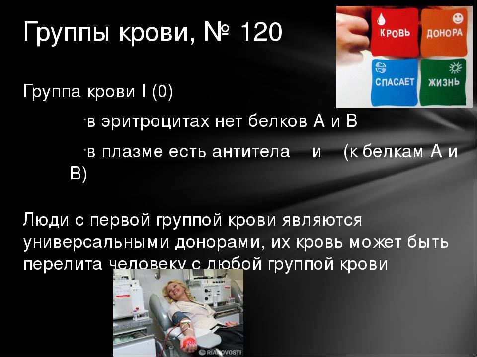 Группа крови I (0) в эритроцитах нет белков А и В в плазме есть антитела α и...