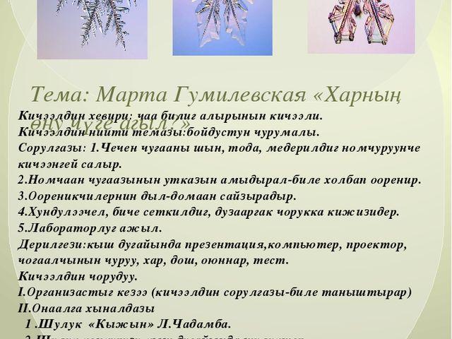 Тема: Марта Гумилевская «Харның өңу чүге агыл?» Кичээлдин хевири: чаа билиг а...