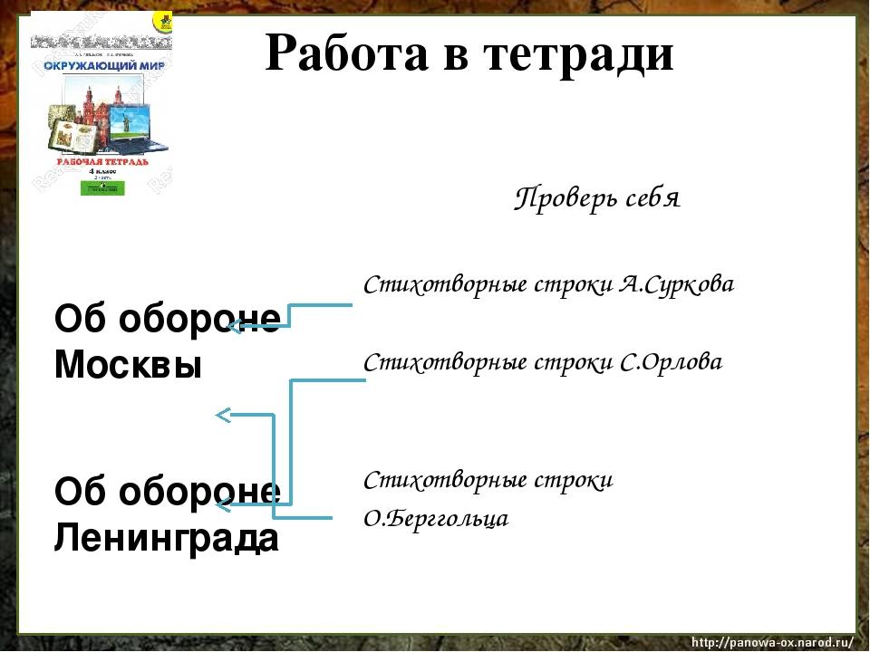 Работа в тетради Проверь себя Стихотворные строки А.Суркова Стихотворные стр...