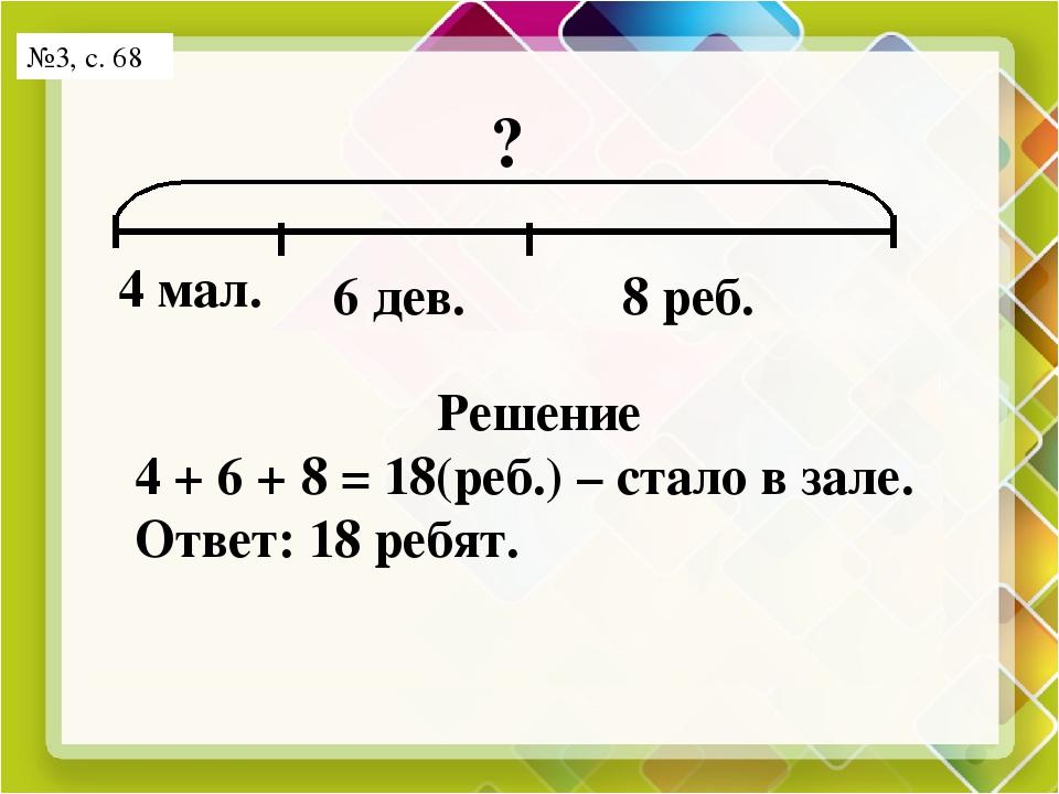 №3, с. 68 ? ? 4 мал. 6 дев. 8 реб. Решение 4 + 6 + 8 = 18(реб.) – стало в зал...
