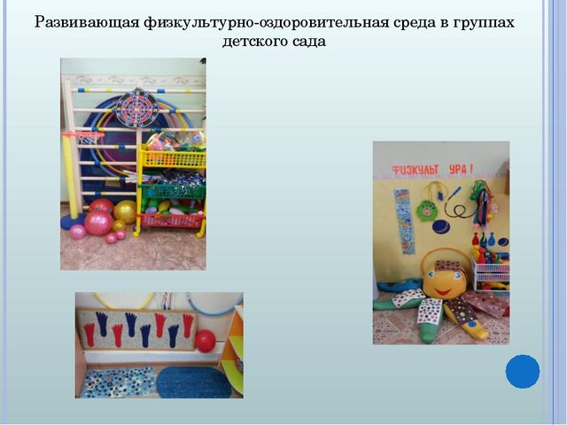 Развивающая физкультурно-оздоровительная среда в группах детского сада