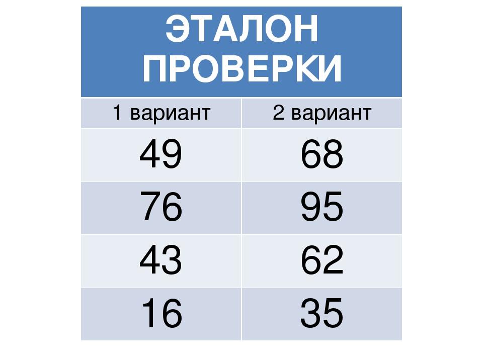 ЭТАЛОН ПРОВЕРКИ 1 вариант2 вариант 4968 7695 4362 1635