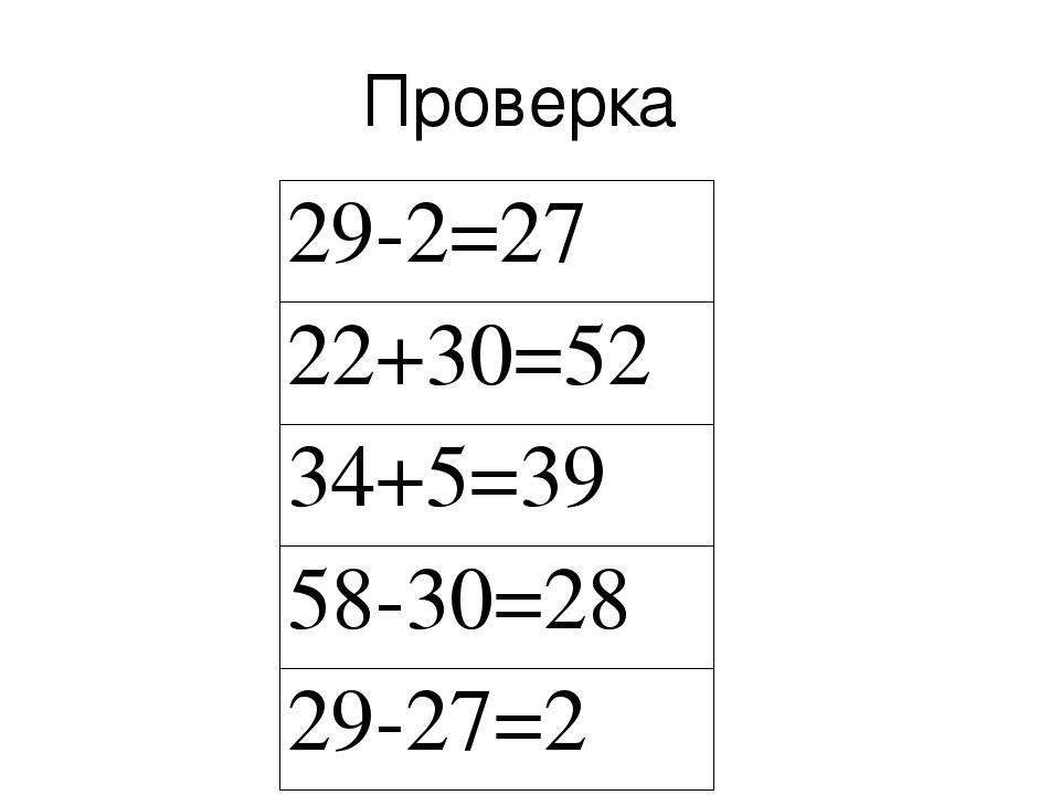 Проверка 29-2=27 22+30=52 34+5=39 58-30=28 29-27=2