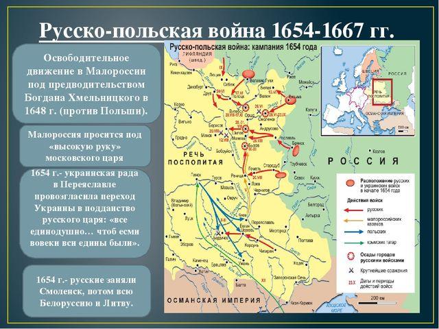 Русско-польская война 1654-1667 гг. Освободительное движение в Малороссии под...