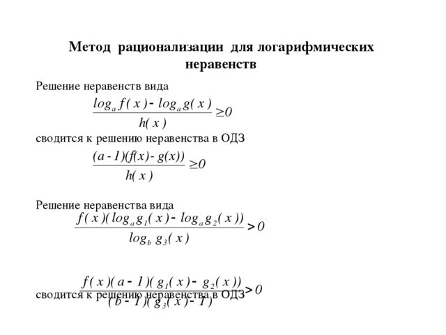 для шпаргалки неравенств формул логарифмических