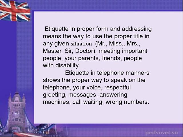 an introduction to the analysis of proper etiquette in america Note: this is a book excerpt from a beginner's guide to business etiquette: mastering good manners is now blissfully simple by crista tharp related: top 3 tips for telephone etiquette we all want to be treated with respect, and it starts with the very first greeting.