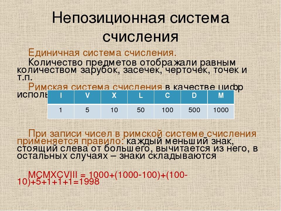 Непозиционная система счисления Единичная система счисления. Количество предм...