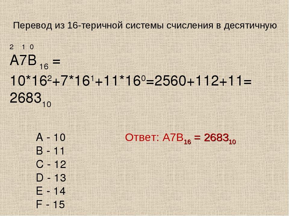 Ответ: А7В16 = 268310 2 1 0 А7В 16 = 10*162+7*161+11*160=2560+112+11= 268310...