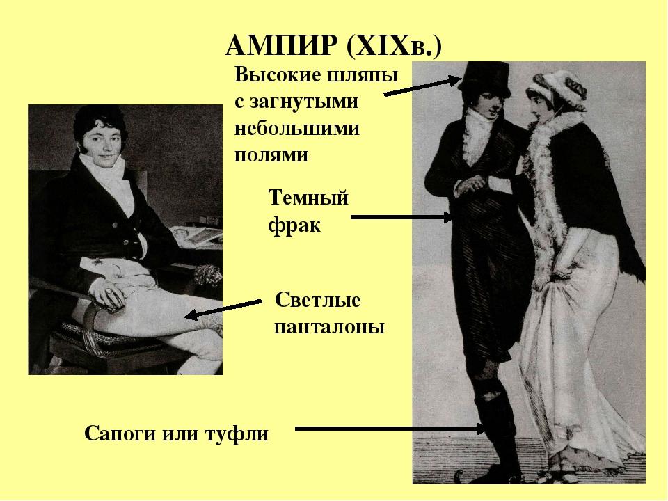 АМПИР (XIXв.) Темный фрак Светлые панталоны Высокие шляпы с загнутыми небольш...