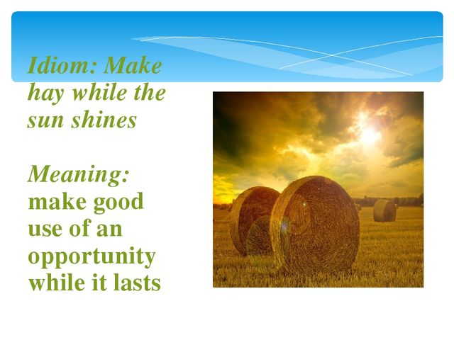 paragraph or essay on make hay while the sun shines I'm writting my exams and i want an essay about the proverd make hay while the sunshine.