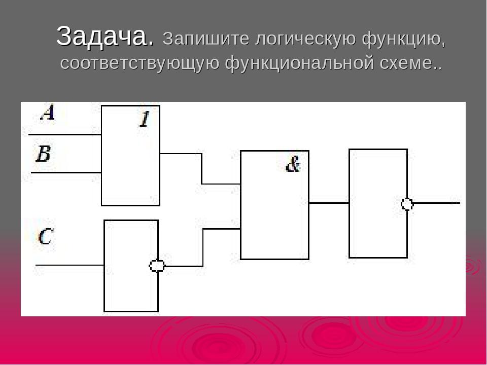 Записать функцию по логической схеме