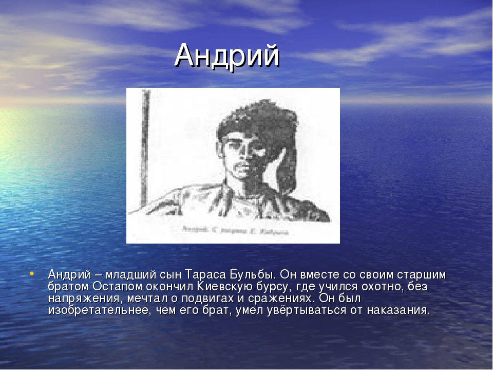 Андрий Андрий – младший сын Тараса Бульбы. Он вместе со своим старшим братом...