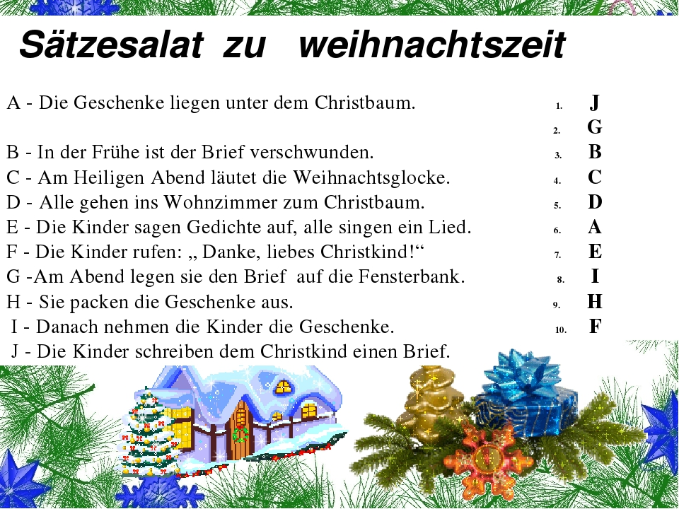 Sätzesalat zu weihnachtszeit A - Die Geschenke liegen unter dem Christbaum....