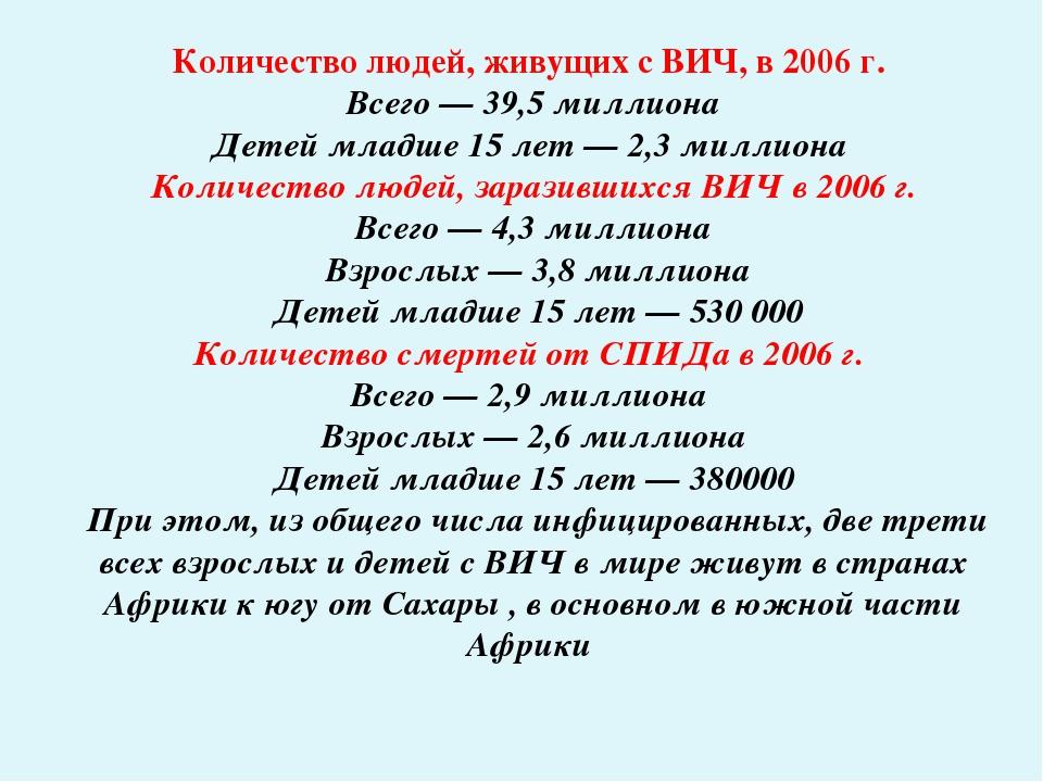 Количество людей, живущих с ВИЧ, в 2006г. Всего— 39,5 миллиона Детей младше...