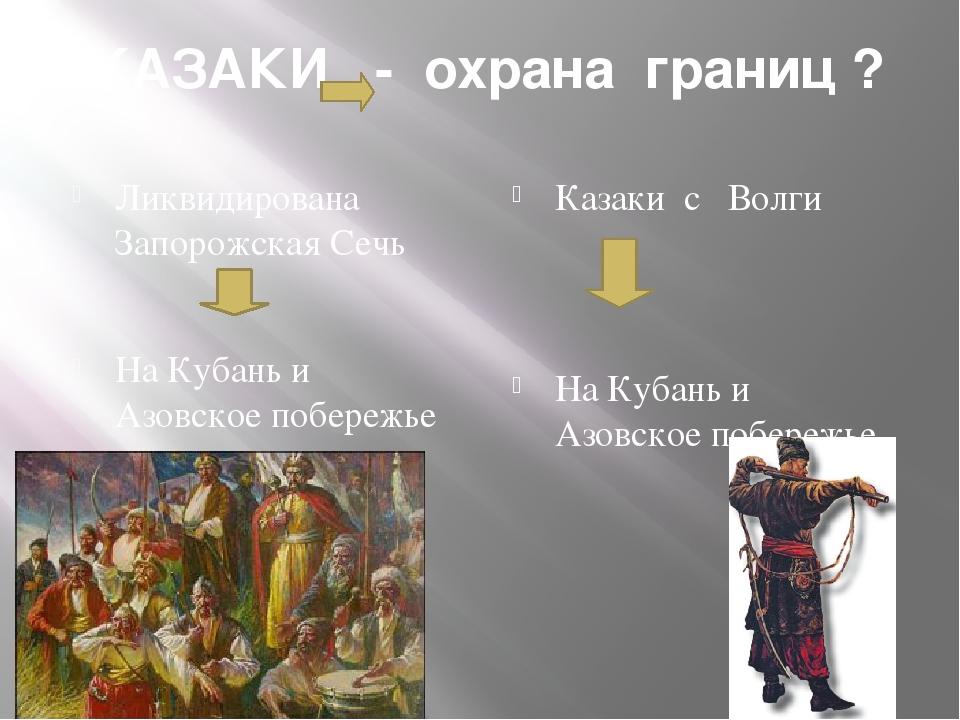 КАЗАКИ - охрана границ ? Ликвидирована Запорожская Сечь На Кубань и Азовское...