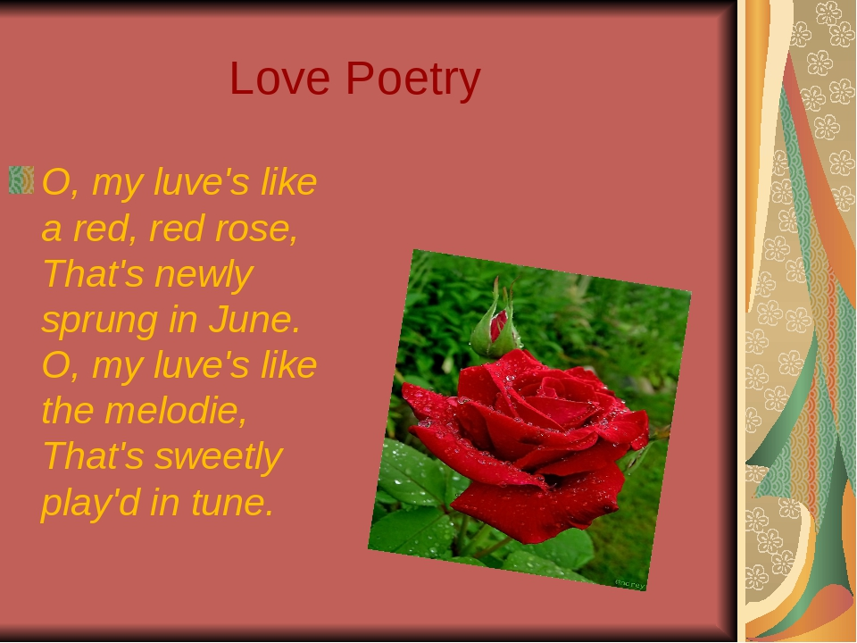 Love Poetry O, my luve's like a red, red rose, That's newly sprung in June....