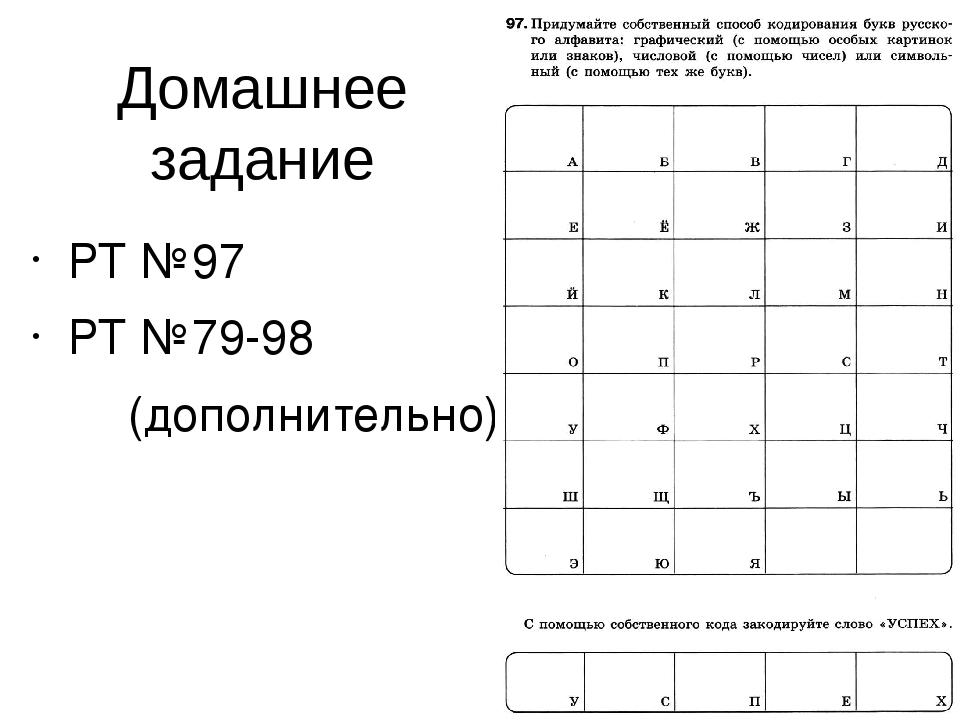 РТ №97 РТ №79-98 (дополнительно) Домашнее задание