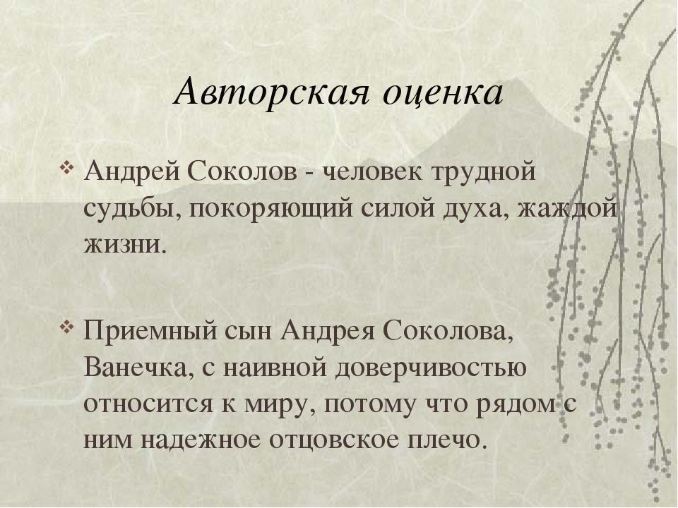 Авторская оценка Андрей Соколов - человек трудной судьбы, покоряющий силой ду...