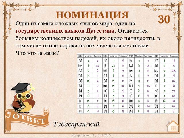 Один из самых сложных языков мира, один из государственных языков Дагестана....