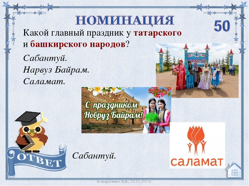 Какой главный праздник у татарского и башкирского народов? Сабантуй. Нарвуз Б...