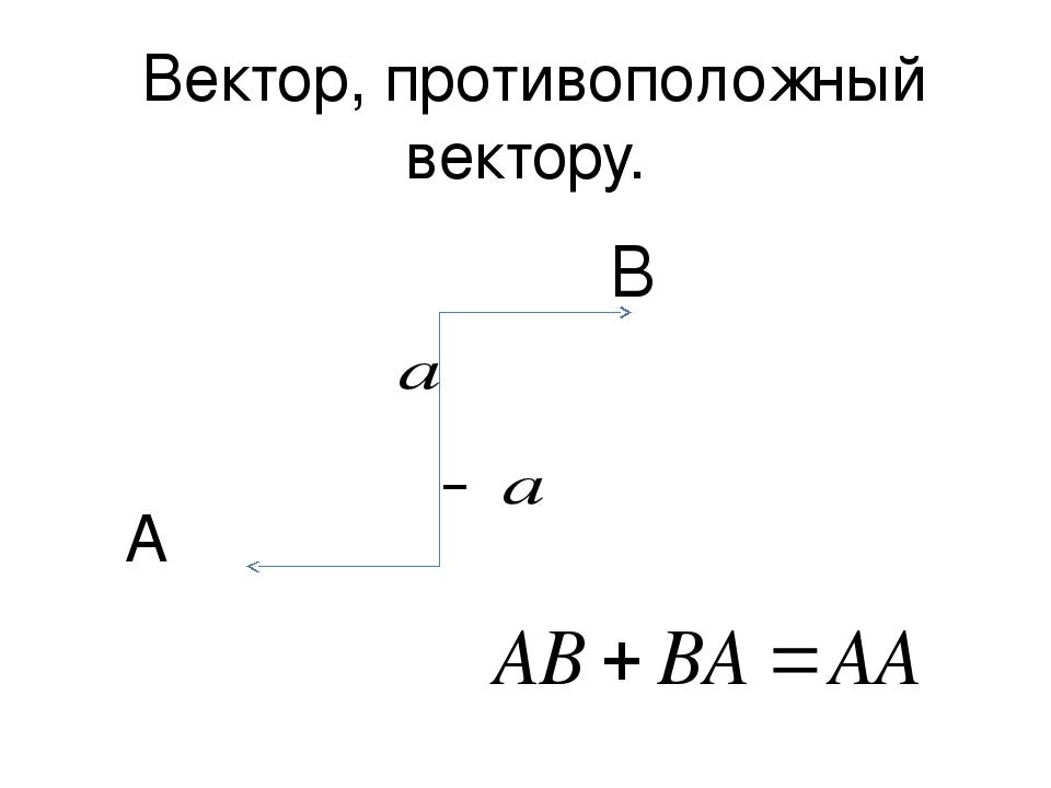 Вектор, противоположный вектору. A B