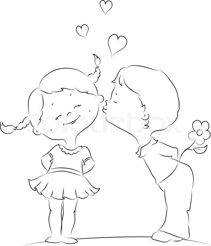 Девочка и мальчик картинки нарисованные карандашом, марка нужна для