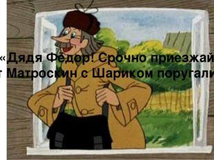 «Дядя Фёдор! Срочно приезжай! Кот Матроскин с Шариком поругались!»