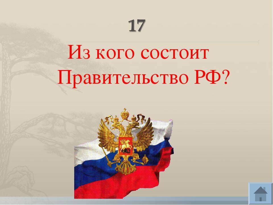 Из кого состоит Правительство РФ?