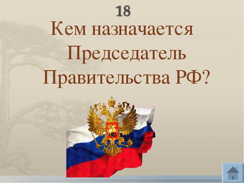 Кем назначается Председатель Правительства РФ?