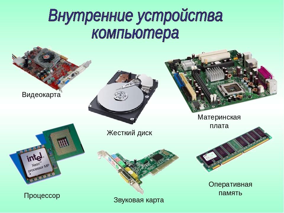 Видеокарта Процессор Жесткий диск Звуковая карта Оперативная память Материнск...