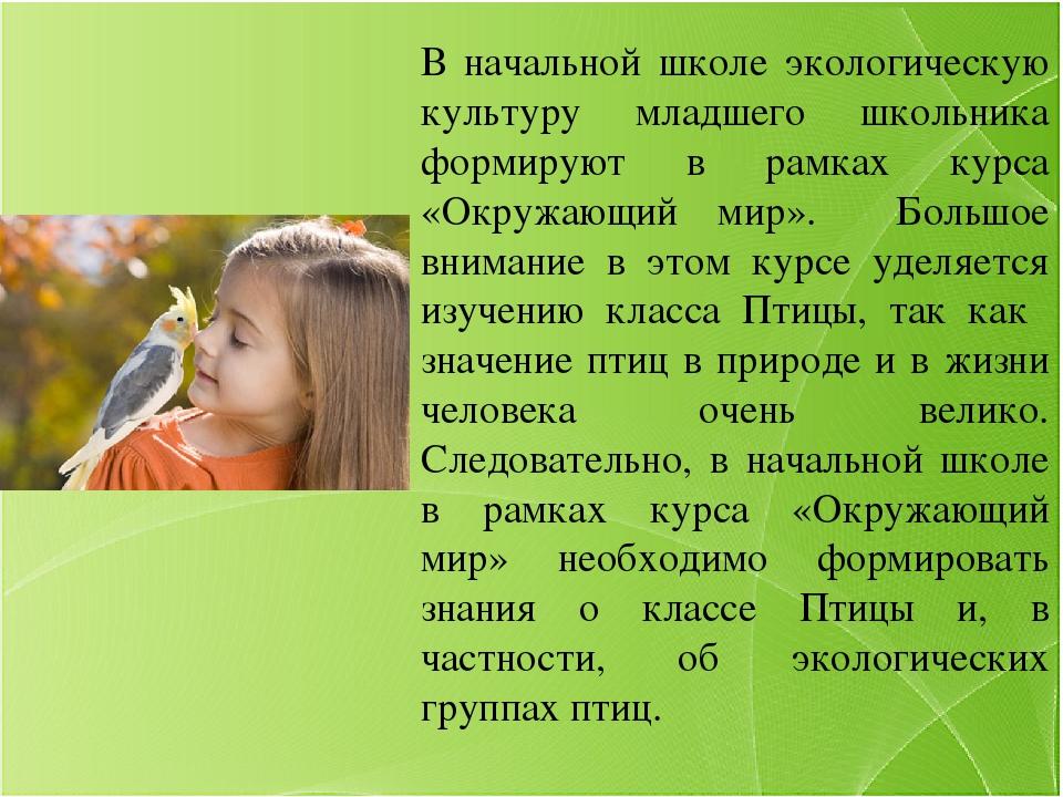 В начальной школе экологическую культуру младшего школьника формируют в рамк...