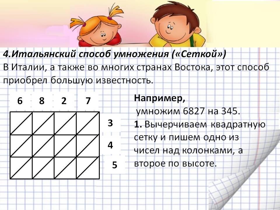 способы умножения чисел картинки детей