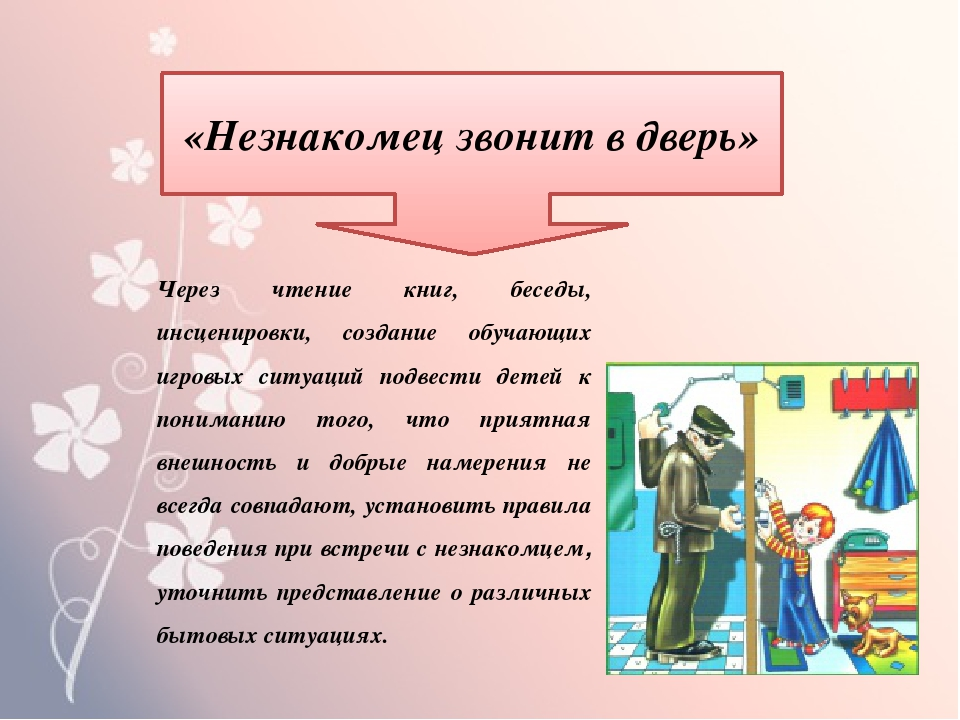 «Незнакомец звонит в дверь» Через чтение книг, беседы, инсценировки, создание...