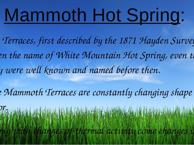 Mammoth Hot Spring: The Terraces, first described by the 1871 Hayden Survey,...