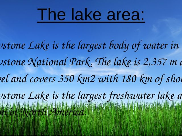 The lake area: Yellowstone Lake is the largest body of water in Yellowstone N...