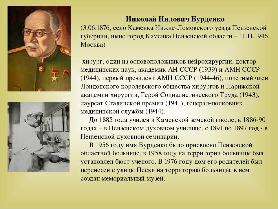 Николай Нилович Бурденко (3.06.1876, село Каменка Нижне-Ломовского уезда Пенз...