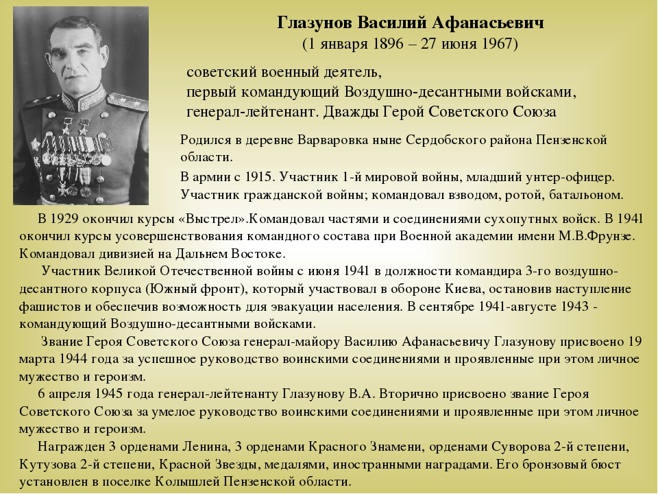 Глазунов Василий Афанасьевич (1 января 1896 – 27 июня 1967) советский военный...