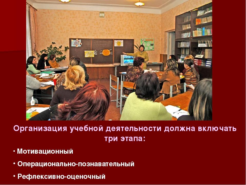 Организация учебной деятельности должна включать три этапа: Мотивационный Опе...